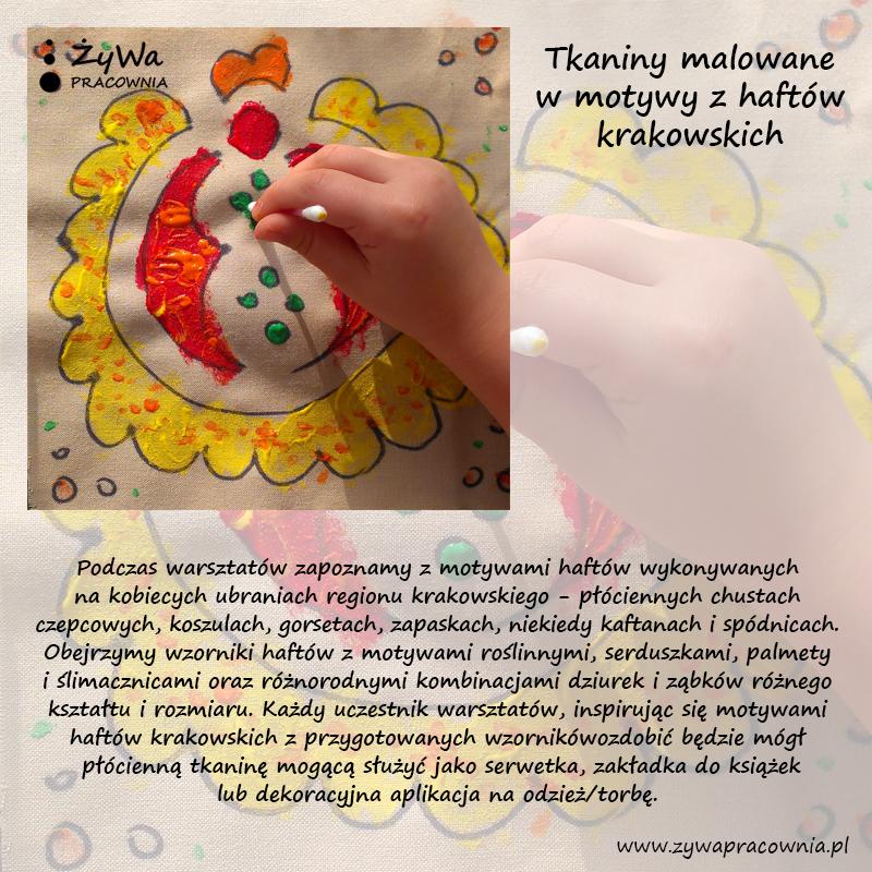 tkaniy malowane w motywy z haftów krakowskich